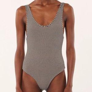 Mara Hoffman Striped Tank Bodysuit -in Black cream